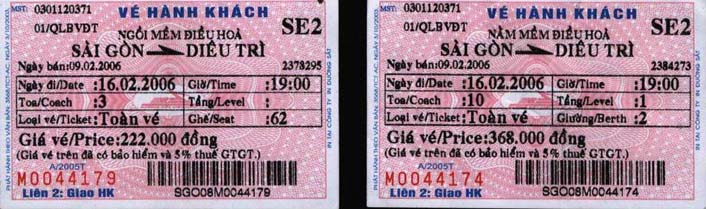 "Thich Quang Do's train tickets to Binh Dinh. Police said they did not arrest Thich Quang Do, but prevented him from boarding the train because he ""had the wrong tickets"" (16.2.2006) (Photo IBIB)"