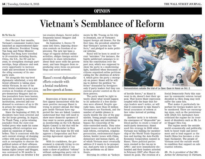 Vietnam's Semblance of Reform by Vo Van Ai (The Wall Street Journal)