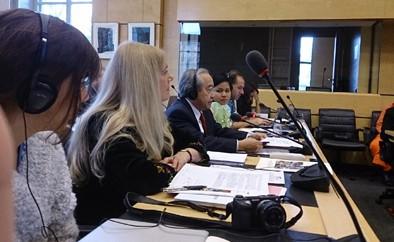 Ông Võ Văn Ái phát biểu tại Ủy ban CESCR ở Điện Wilson LHQ Genève