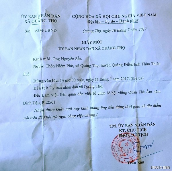 "Summons issued to a BYM leader by the local People's Committee for ""working sessions on the organization of festivities concerning the Bodhisattva of Compassion Quán Thế Âm"""