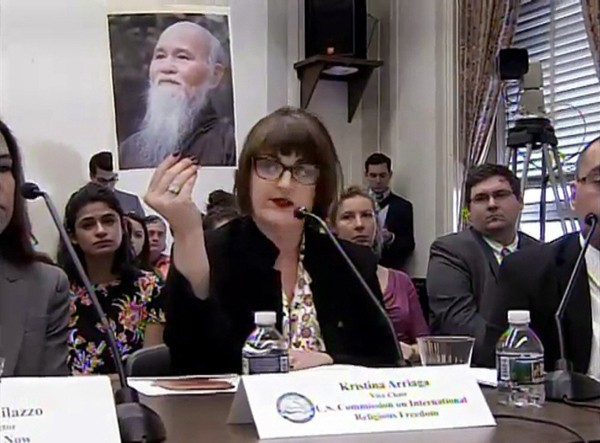 USCIRF Vice Chairwoman Kristina Arriaga testifying at the Congressional Hearing on Defending Freedoms Project, 15 February 2018