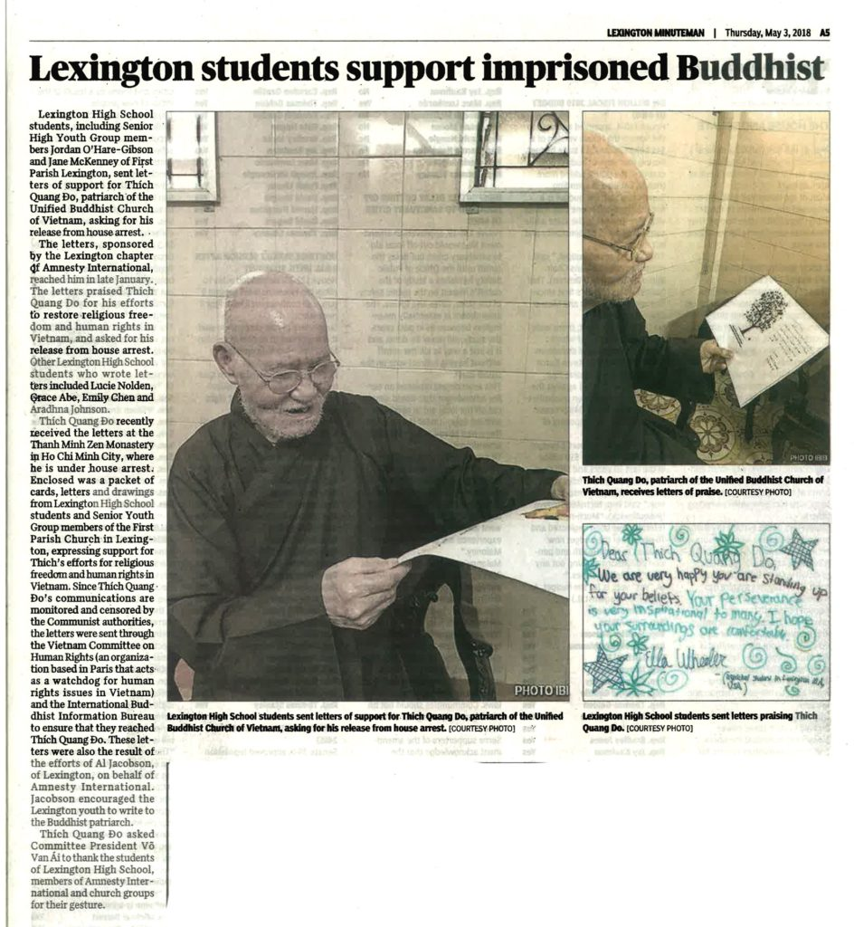 Lexington students support imprisoned Buddhist (Lexington Minuteman, 3 May 2018)