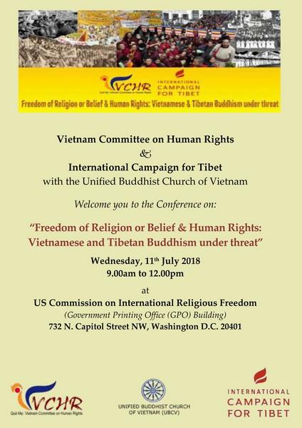 Bìa Chương trình cuộc Hội luận Hoa Thịnh Đốn ngày 11 tháng 7 năm 2018