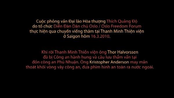 Trang đầu Video gốc phỏng vấn do Phòng Thông tin Phật giáo Quốc tế ghi chú sự vụ thực hiện tháng 3 năm 2010 bị nhóm chuyển tiếp cắt bỏ