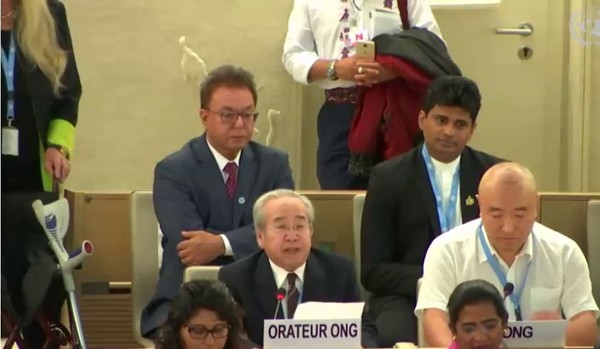 Võ Văn Ái speaks before the UN Human Rights Council on 18 September 2018