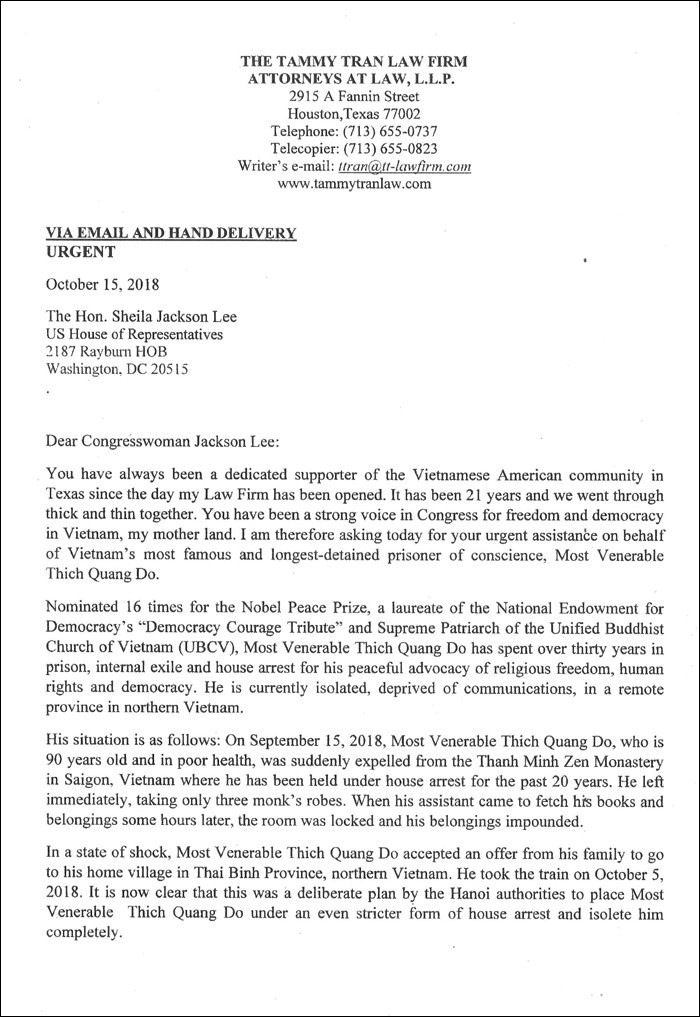 Letter to US Congresswoman Sheila Jackson Lee from the Tammy Tran Law Firm requesting urgent support for UBCV Patriarch Thich Quang Do 1