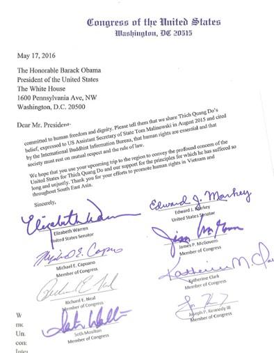US Congress' letter to US President Barack Obama