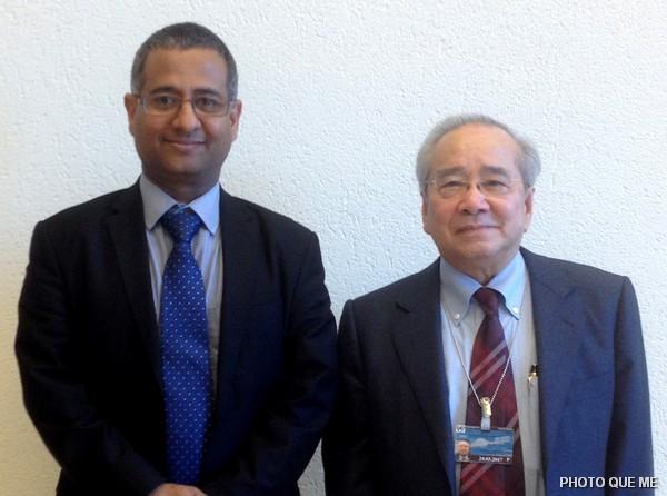 Ông Võ Văn Ái và Tiến sỉ Ahmed Shaheed, Báo cáo viên Đặc biệt LHQ về Tự do Tôn giáo hay Tín ngưỡng tại LHQ Genève