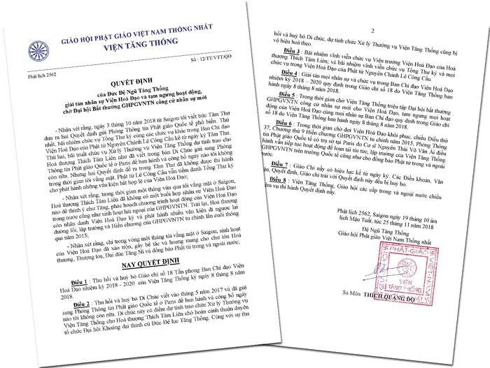 Quyết Định của Đức Đệ Ngũ Tăng Thống giải tán nhân sự Viện Hoá Đạo và tạm ngưng hoạt động, chờ Đại hội Bất thường GHPGVNTN công cử nhân sự mới