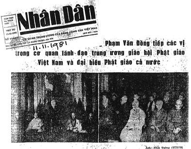 Bản tin báo Nhân dân Giáo hội Phật giáo Nhà nước ra đời ngày 7.11.1981 và kéo nhau đến bái lĩnh Thủ tướng Phạm Văn Đồng