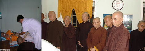 Patriarch Thich Huyen Quang returns to Nguyen Thieu Monastery, greeted by (from the left): Thich Quang Do, Thich Thien Hanh, Thich Vien Dinh and other UBCV monks