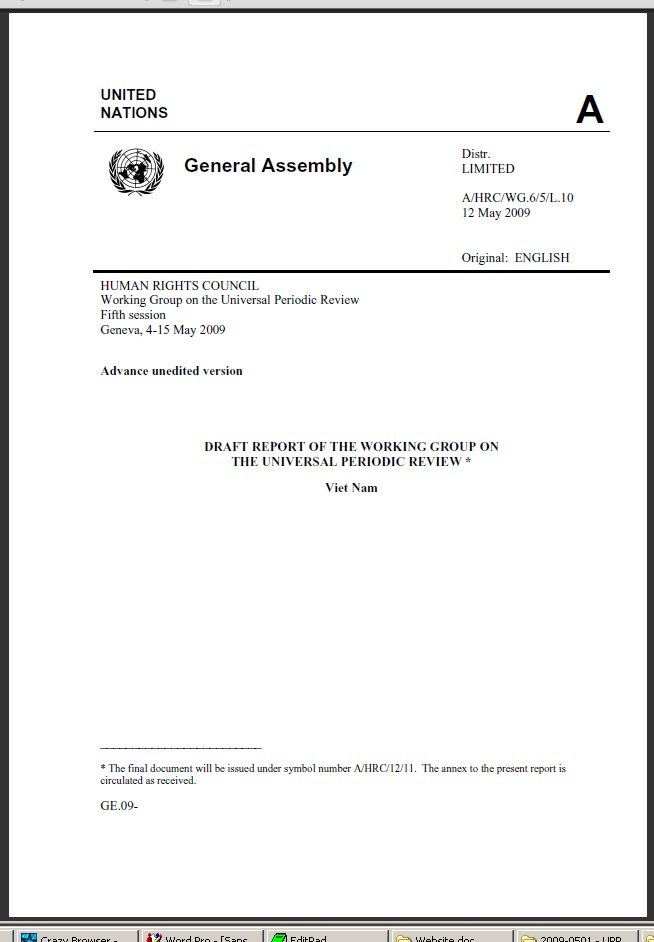 Report of the UPR Working group (A/HRC/WG.6/5/L.10)