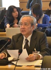 Vo Van Ai speaking at the CERD