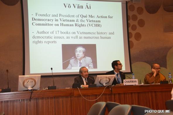 Ông Võ Văn Ái thuyết trình tại cuộc Hội luận LHQ