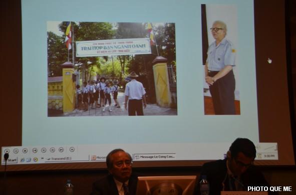 Huynh trưởng Lê Công Cầu trên băng hình audio tại Hội luận LHQ