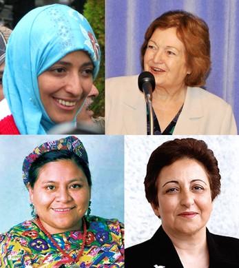 Les Prix Nobel de la Paix Tawakkol Karman, Mairead Maguire, Rigoberta Menchu Tum and Shirin Ebadi