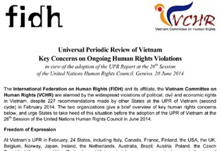 Universal Periodic Review of Vietnam - Key Concerns on Ongoing Human Rights Violations, in view of the adoption of the UPR Report at the 26th Session of the United Nations Human Rights Council, Geneva, 20 June 2014