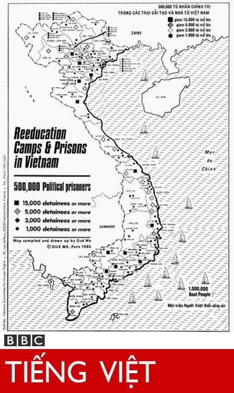 Bấm vào đây để xem: Đài BBC đăng tấm bản đồ Trại Cải Tạo do Cơ sở Quê Mẹ thực hiện năm 1978 và 1985