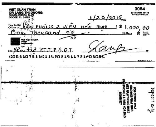 Chi phiếu một nghìn Mỹ kim gửi giúp Phòng Thông tin Phật giáo Quốc tế gửi qua TT Giác Đẳng ở chương mục Văn phòng 2 Viện Hoá Đạo của Thượng toạ, và đã thu nhận tiền, song không chuyển cho PTTPGQT như ý nguyện của Đạo hữu Lang Duong