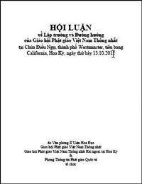 Hội Luận về Lập trường và Đường hướng của Giáo hội Phật giáo Việt Nam Thống nhất (tại Chùa Điều Ngự, thành phố Westminster, tiểu bang California, Hoa Kỳ, ngày thứ bảy 13.10.2012)