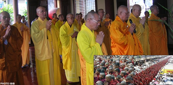 Partial view of the prayer ceremony in Giac Hoa Pagoda, Saigon. On the front row, from left to right, Thich Khong Tanh, Thich Duc Chon, Thich Quang Do and Thich Vien Dinh (Photo IBIB)