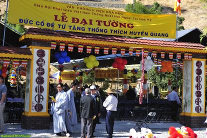 Hội trường đón tiếp chư Tăng Ni, Phật tử tham dự lễ Đại tường