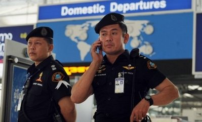 Airport security officers are seen at Suvarnabhumi international airport in Bangkok. Thailand has refused entry to two human rights campaigners due to speak at a Bangkok press conference Monday about alleged abuses in neighbouring Vietnam, a journalists' organisation said (AFP/File/Saeed Khan).