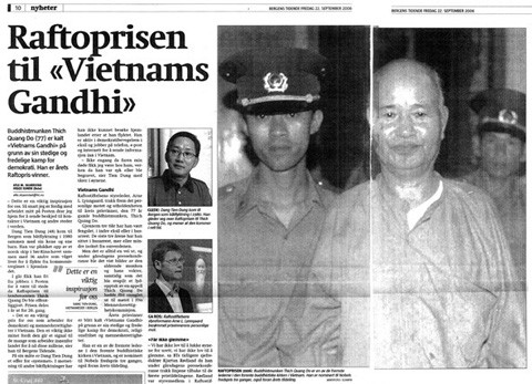 The Norwegian media reports Thich Quang Dos Rafto Prize in 2006