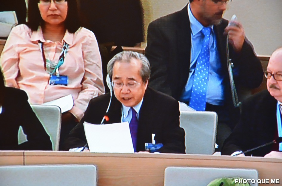 Vo Van Ai speaking at the UN Human Rights Council, 8 March 2013 - Photo QUE ME