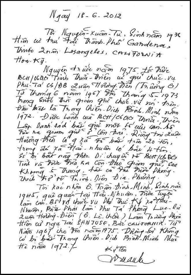 Thư viết tay của cựu Phụ tá Cảnh sát Đặc biệt Nguyễn Xuân Tư xác nhận từ 1967 đến 1975 ông Trần Đình Minh không hề bi bắt - Hình PTTPGQT