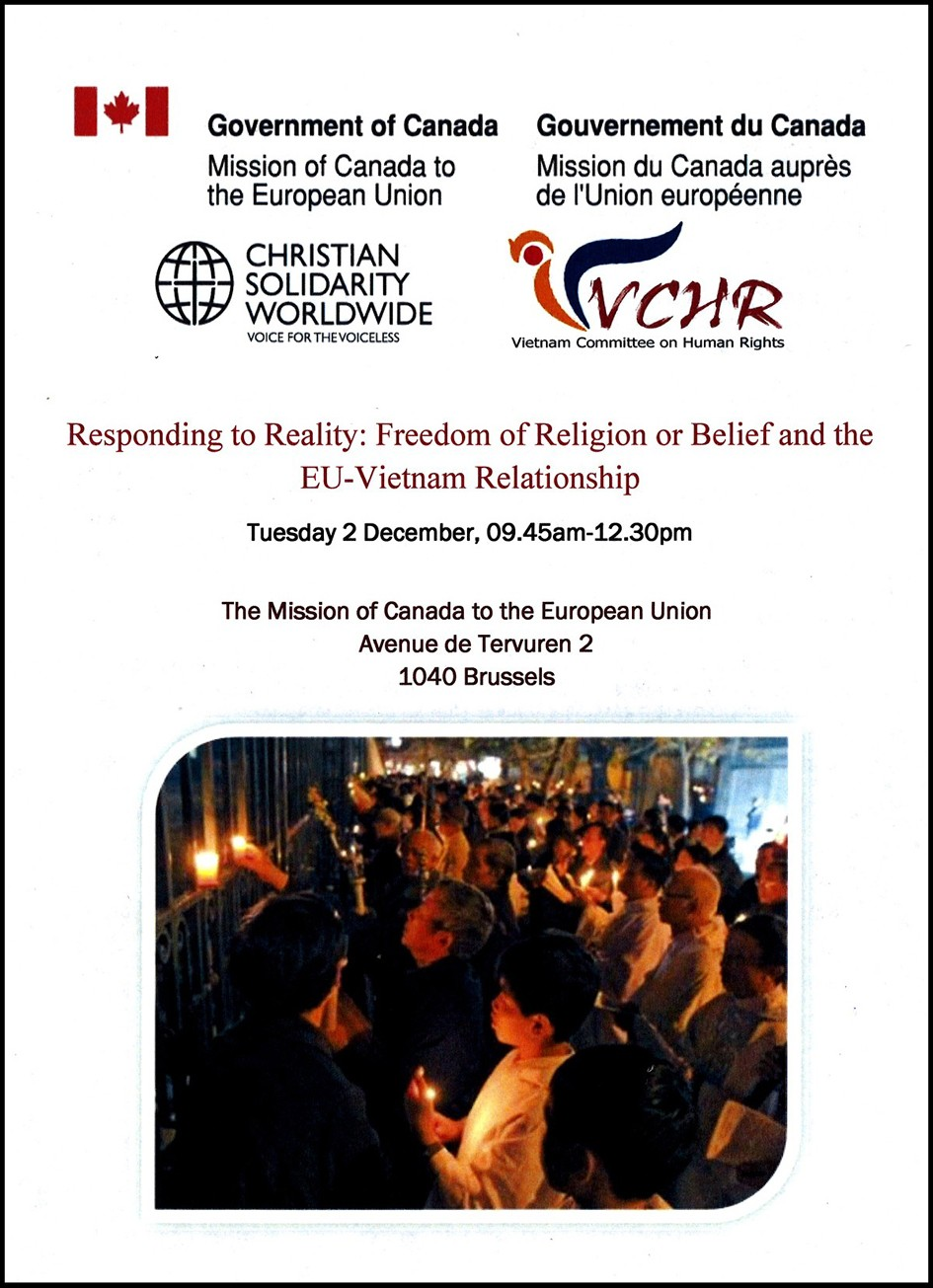 Đại sứ quán Gia Nã Đại cạnh Liên Âu hợp tác với Quê Mẹ & Uỷ ban Bảo vệ Quyền Làm Người Việt Nam và Christian Solidarity Worldwide tổ chức cuộc Hội luận