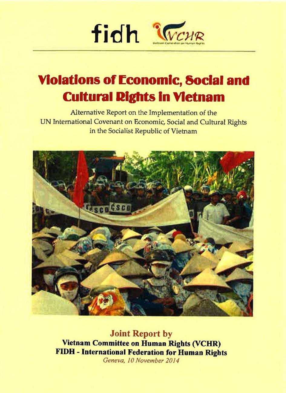 Bản Báo cáo chung, tiếng Anh, phản bác Phúc trình Hà Nội về vi phạm các Quyền kinh tế, xã hội và văn hoá, công bố tại LHQ Genève ngày 11.11.2014
