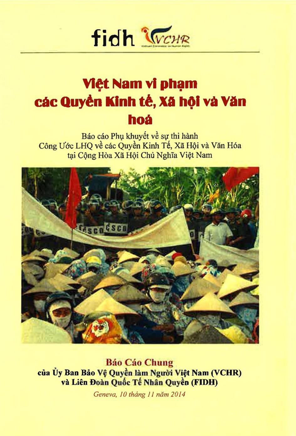 Bản Báo cáo chung, tiếng Việt, phản bác Phúc trình Hà Nội về vi phạm các Quyền kinh tế, xã hội và văn hoá, công bố tại LHQ Genève ngày 11.11.2014
