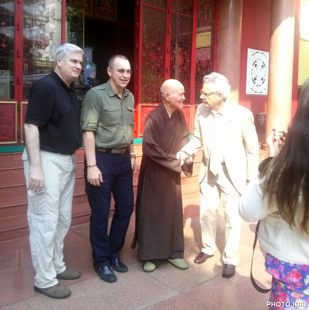 The US delegation outside Thanh Minh Zen Monastery - From left to right: Rep. Tom Emmer, Rep. Matt Salmon, Venerable Thich Quang Do and Rep. Alan Lowenthal