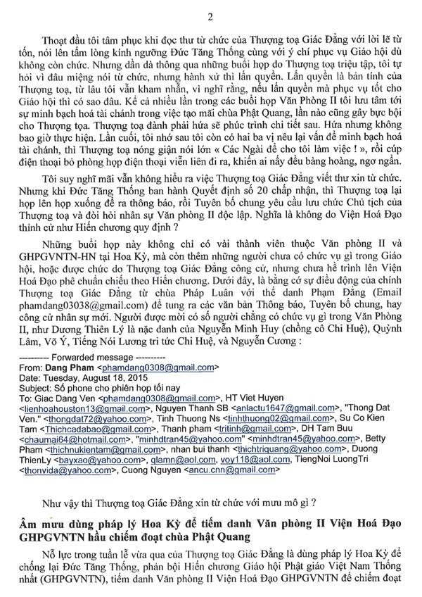 Thông Bạch của Hoà thượng Phó Chủ tịch Văn Phòng II Viện Hoá Đạo về những hành xử bất minh của Thượng toạ Thích Giác Đẳng và âm mưu dung Đại hội tháng 10 tại San Jose để chống phá GHPGVNTN và Đức Tăng Thống Thích Quảng Độ - 2/6