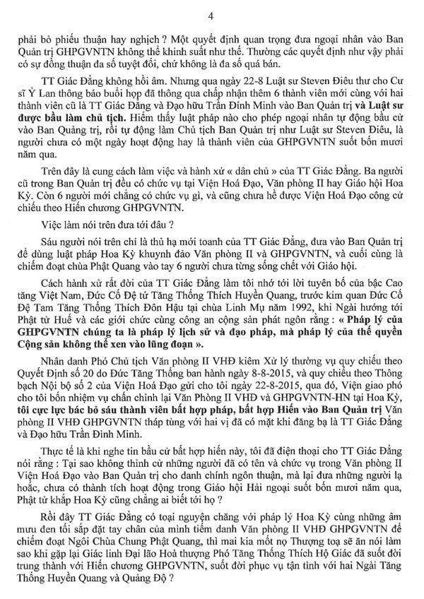 Thông Bạch của Hoà thượng Phó Chủ tịch Văn Phòng II Viện Hoá Đạo về những hành xử bất minh của Thượng toạ Thích Giác Đẳng và âm mưu dung Đại hội tháng 10 tại San Jose để chống phá GHPGVNTN và Đức Tăng Thống Thích Quảng Độ - 4/6