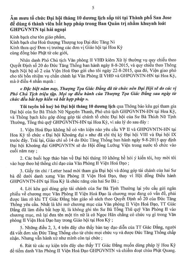 Thông Bạch của Hoà thượng Phó Chủ tịch Văn Phòng II Viện Hoá Đạo về những hành xử bất minh của Thượng toạ Thích Giác Đẳng và âm mưu dung Đại hội tháng 10 tại San Jose để chống phá GHPGVNTN và Đức Tăng Thống Thích Quảng Độ - 5/6