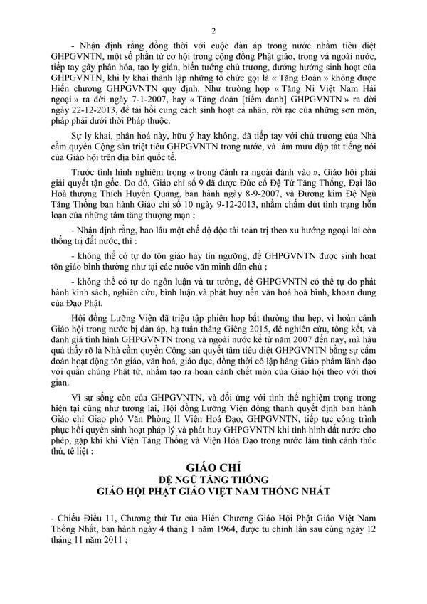 Giáo Chỉ - Giao phó Văn Phòng II Viện Hoá Đạo, GHPGVNTN, tiếp tục công trình phục hồi quyền sinh hoạt pháp lý và phát huy Giáo hội khi tình hình đất nước cho phép - 2/4