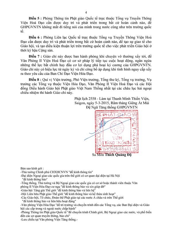 Giáo Chỉ - Giao phó Văn Phòng II Viện Hoá Đạo, GHPGVNTN, tiếp tục công trình phục hồi quyền sinh hoạt pháp lý và phát huy Giáo hội khi tình hình đất nước cho phép - 4/4