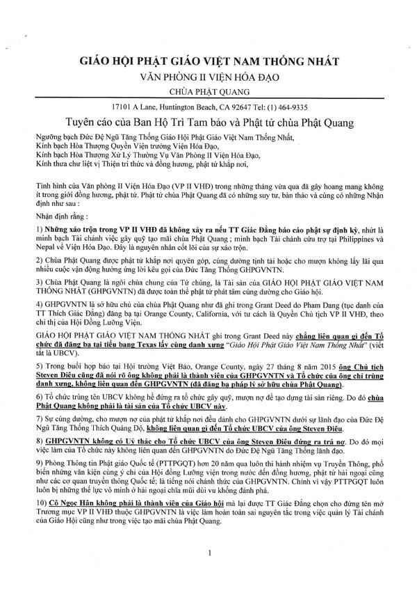 Tuyên cáo của Ban Hộ trì Tam Bảo và Phật tử chùa Phật Quang - 1/5