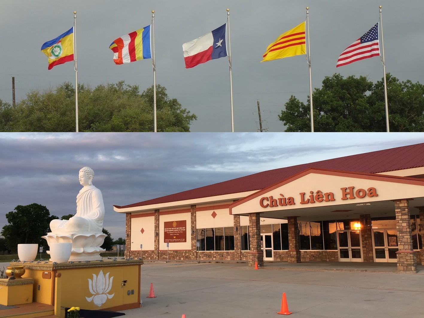 Hội trường Chùa Liên Hoa vừa xây cất xong trước ngày Phật Đản