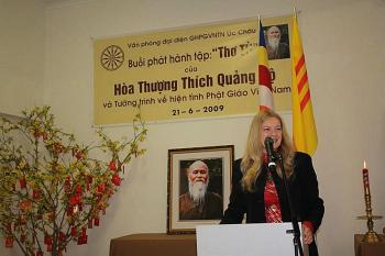 STANDING STRONG: Penelope Faulkner, spokesperson for Paris-based International Buddhist Information Bureau, speaks out against Vietnam's persecution against Buddhism, Vietnam's majority religion during a speaking tour in Australia, June 2009