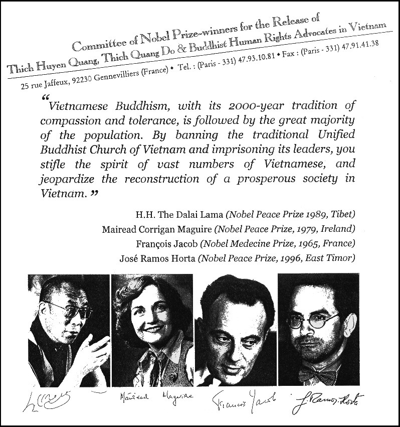 Four Nobel Peace Prize laureates set up a Committee for the Release of Thích Huyền Quang, Thích Quảng Độ and other UBCV leaders