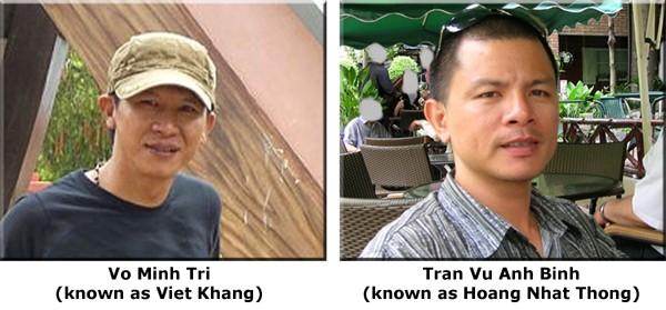 Võ Minh Trí (nghệ danh Việt Khang) và Trần Vũ Anh Bình (nghệ danh Hoàng Nhật Thông)