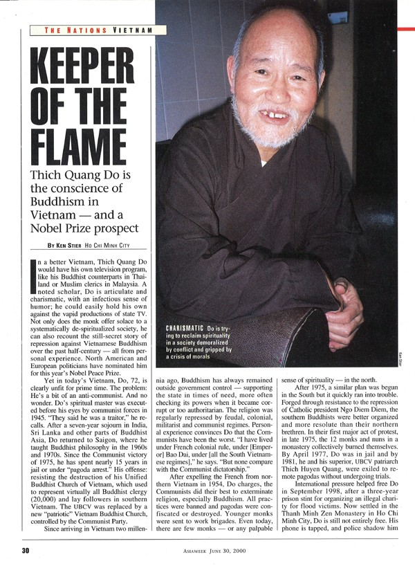 """Keeper of the Flame"" by Ken Stier (AsiaWeek, 30 June 2000)"