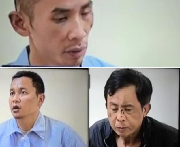 "Lê Đình Kình's son Lê Đình Công, and his two grandsons Lê Đình Doanh and Lê Đình Quang ""confessing their crimes"" on state television on 13th January 2020. Their faces are bruised, suggesting possible torture. The men looked down during the broadcast, as if they were reading from a prepared text."