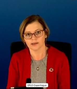 Dân biểu Marianne Vind (Đảng Xã hội, người Đan Mạch) phát biểu tại Quốc hội Châu Âu hôm 21/1/2021 - Photo: VCHR